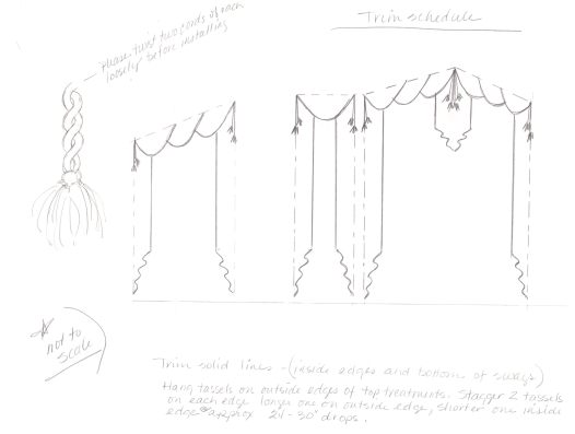 initial rough measurement drawings with details for Ms. ST to go back and render complete for workroom fabricators