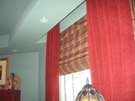 Great Room /Roman Shades w/Stationary Side Panels