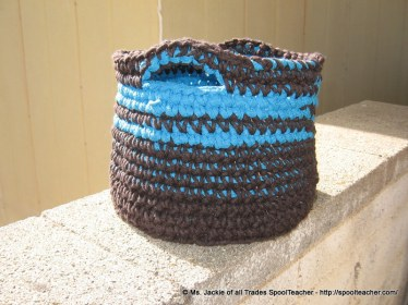 100% cotton macrame cord and t-shirt yarn crochet basket