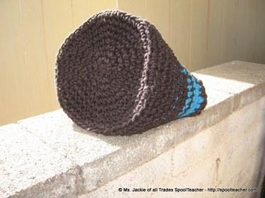 100% cotton macrame cord and t-shirt yarn crochet basket