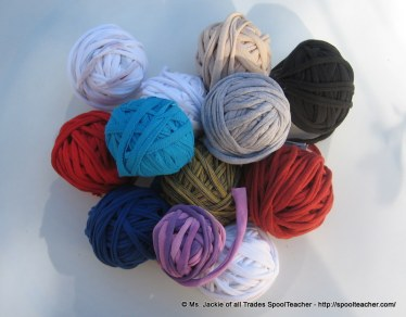 collection of t-shirt yarn, tarn, rolls